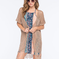 Full Tilt Boho Sweater Knit Womens Kimono Mocha  In Sizes