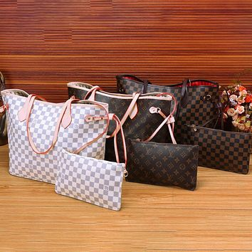LV Bag Louis Vuitton Shopping Bag Big Bag Two Piece Shoulder Bag Three-color Optional