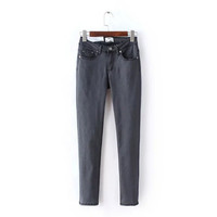 Summer Women's Fashion Stylish High Rise Rinsed Denim Slim Denim Pants Skinny Pants [4919983236]