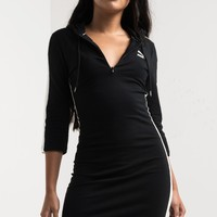 PUMA Hooded 3/4 Sleeve Zip Up Knee Length Sweater Dress in Black