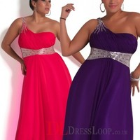 A-Line One Shoulder Chiffon Regency Plus Size Prom Dress/Evening Gowns With Beading VTBU0244858