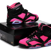 Air Jordan 6 Retro Aj6 Black/pink Women Basketball Shoes Us 5.5-8 - Beauty Ticks