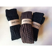Super Long  Thick Cable Knit Boot Socks