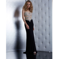 Black Strapless Beaded Bodice Dress