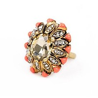 Elaborate Coral Flower Ring