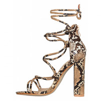 Hannah Beige Snake Lace Up Block Heels : Simmi Shoes
