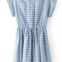Striped Shirt Collar Short Sleeve High Waist A-Line Pleated Mini Dress