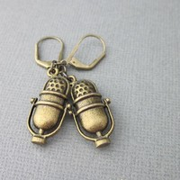 Classic Retro Microphone Charm Earrings Antiqued Brass Leverback