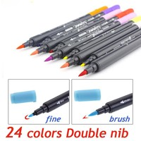 Art and Graphic Drawing Manga Water Based Ink Twin Tip Brushand Fine Tip Sketch Marker Pen 12 18 24 Colors SET Brush Pen