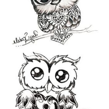 Waterproof Temporary Tattoo lovely owl on ankle tatto stickers flash tatoo fake tattoos for girl women lady