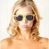 Yellow Swarovski Crystal Wayfarer Fashion Sunglasses