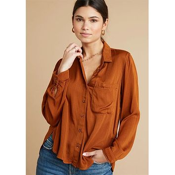 Rounded Hem Pocket Button Down Amber