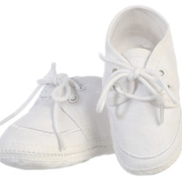 Baby Boys White Cotton Oxford Bootie Shoes 0-14m