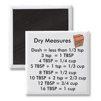 Dry Measurements SQUARE Magnet from Zazzle.com