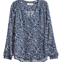 H&M - Patterned Blouse - Blue/white patterned - Ladies