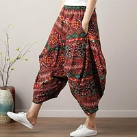 Women Bohemian Harem Pants Boho Chic Print Wide Leg Pants 2019 Summer Big Size Loose Hippie Trousers