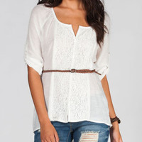 DOLLED UP Crochet Lace Womens Belted Hi Low Shirt