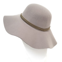 Chain Melody Wool Floppy Hat In Charcoal