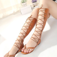 New Summer Lace Up Sandals = 4777189380
