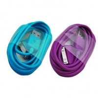 ELONGPRO Purple Light Blue 2M/6ft USB Charge Cable for ipod nano touch iphone 3G 3Gs 4 4S A2U