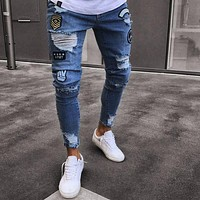 Men Jeans Stretch Skinny Patchwork Hole Distressed Washed Casual Solid Men Denim Jeans Ripped Retro Slim High Quality