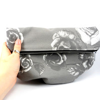 Vintage Rose Foldover Clutch In Black and White and Grey with Metal Zipper, Cute Purse, For Her Under 30, Lined, On the Go