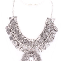 Silver Cutout Pendant With Gemstone Statement Necklace