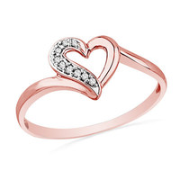 Diamond Accent Heart Ring in 10K Rose Gold - View All Rings - Zales