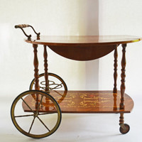 Italian Beverage Cart, Marquetry Inlaid Dessert Cart, Serving Cart, Entertaining Cart, Dessert Trolley, Mobile Bar Cart,  Serving Tray