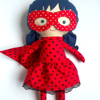 LADYBUG RAG DOLL toy inspired by Miraculous Ladybug and Chat Noir, super hero girl as toddler gift with mask and cape with dots