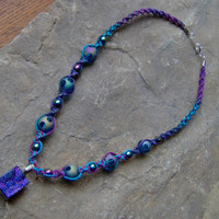 Titanium Quartz Druzy Stone Hemp Necklace w/ by KnottyandNiceHemp