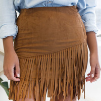 Khaki Fringed Suede Skirt