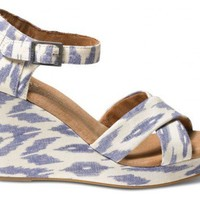 Blue Ikat Women's Sustainable Strappy Wedges