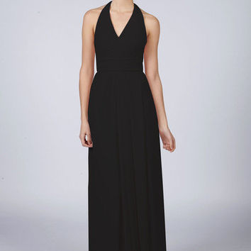 Beautiful Pure Black Long Halterneck Bridesmaid Prom Dress with matching items available