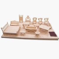 34pcs/set 1:12 Dollhouse Mini Furnitures Children's Educational Wooden Doll Furniture Toy,3d Woodcraft Puzzle Model Kit Toy