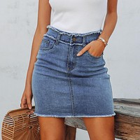 Casual zipper bodycon denim skirts womens Tassel high waist pencil skirt female Streetwear jeans short mini skirts