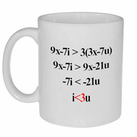 Romantic Algebra Love i<3u Coffee or Tea Mug