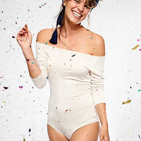 Aerie Real Soft® Off-The-Shoulder Bodysuit, Heather Frost