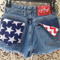 USA Flag HIgh Waisted Shorts Stars Stripes Patriotic 4th of July Waist 24 Size 00 Ready to Ship // suznews etsy store //