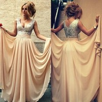 In Stock 2015 Hot A-line V-neck Champagne Chiffon Squins Long Prom Dresses Prom Gown Evening Dresses Evening Party Gown
