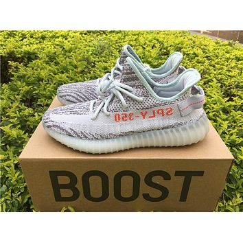 Best Online Sale Kanye West x Adidas Yeezy 350 V2 Boost Blue Tint Sport Shoes  Running Shoes B37571