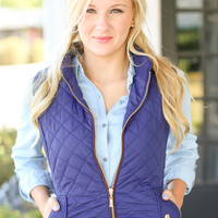 Quilted Riding Vest - Navy