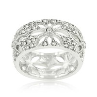 Naspa Floral Filigree Wide Band Ring | 2ct