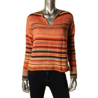 LRL Lauren Jeans Co. Womens Striped Knit V-Neck Sweater