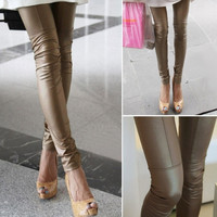 New Fashion Patchwork Trousers Faux Leather Pants Stretch Skinny