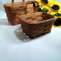 Basket Wall Pockets Hanging Baskets 2 Longaberger Woven Wall Baskets Cottage Chic Farmhouse Decor Rustic Wooden Baskets
