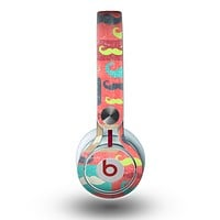 The Vintage Coral and Neon Mustaches Skin for the Beats by Dre Mixr Headphones