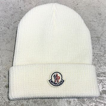 Moncler New fashion embroidery letter couple knit cap hat White