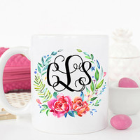 Monogram Mug, Monogrammed Mug, Gift for Bridesmaid, Initial Mug, Monogram coffee mug, Floral mug, coffee mug, Custom monogram mug