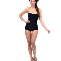 Vintage Style Black Ruched Sheath One Piece Swimsuit